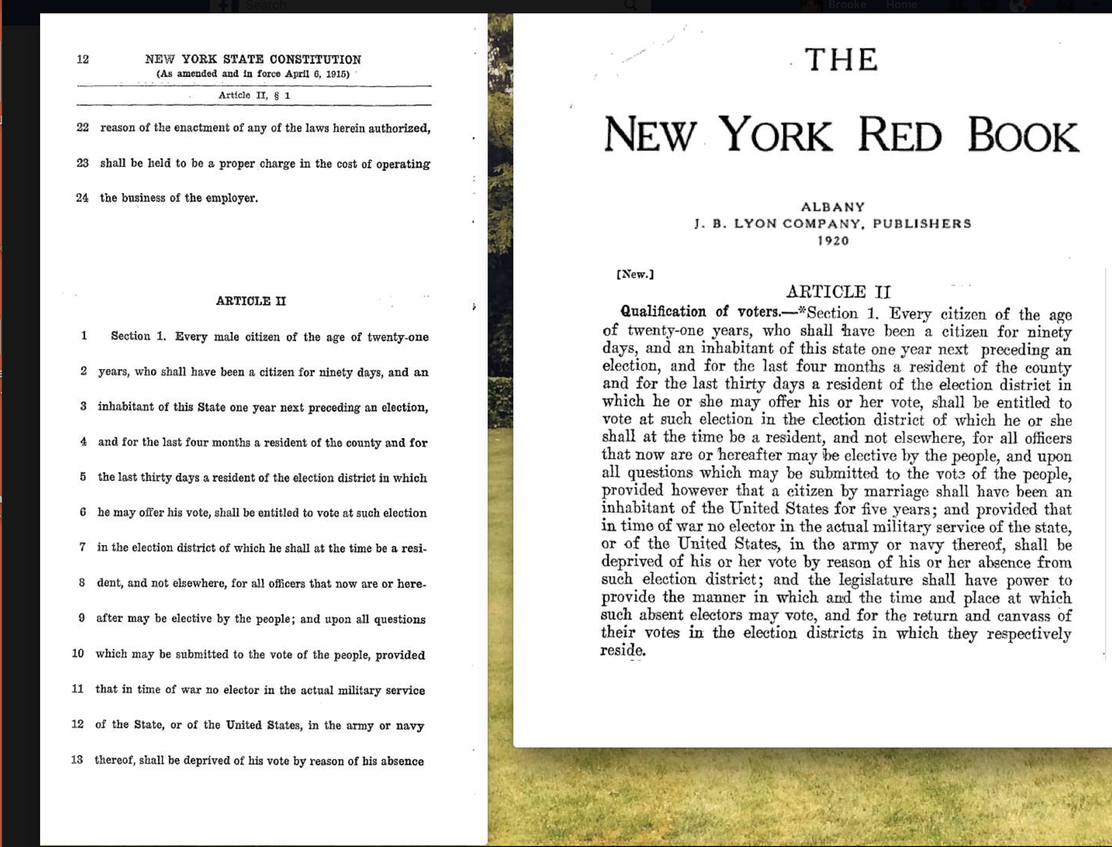 Just one four letter word the 1917 new york constitutions after passage of the november 6 1917 referendum that eliminated the word male on the left the constitution as it read in 1915 and on the right aljukfo Image collections